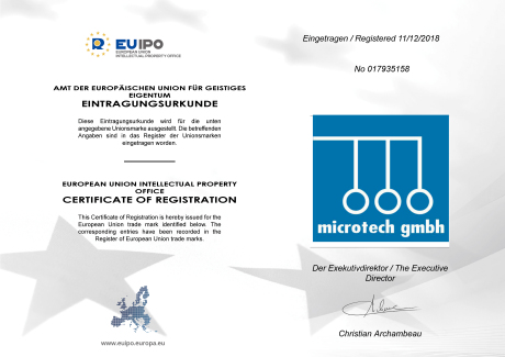 Certificate European Union Intellectual Property Office (EUIPO) for microtech GmbH electronic